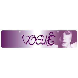 Cap off your Vogue display with an attractive and functional planogram banner. Printed on heavy cardstock