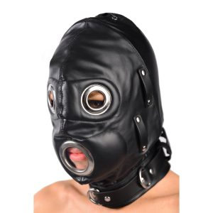 This versatile leather hood gives you a variety of options for bondage and sensory deprivation play. The hood uses a locking buckle to fasten securely around the neck and laces up in the back. Three D-rings located on the neck strap allow you to easily attach your favorite bondage gear. There are grommeted metal eye and mouth cutouts for when you want your sub to see what is coming next and answer you when you ask them if they deserve it. To add to the experience