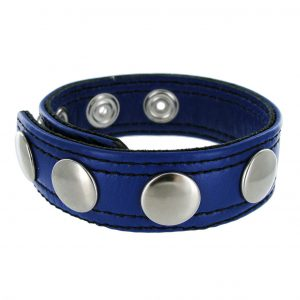 The Strict Leather Blue Speed Snap Cock Ring is made of high quality leather and features 5 snap sizing slots. It effectively holds erections harder and longer