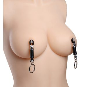 The Amulet D-vice Adjustable Nipple Clamp Set is an effective training tool in the art of endurance and sensation play. These exquisite clamps come equipped with an adjustable barrel so the wearer can graduate to a tighter fit. The TPR coated clips are designed to accommodate the natural curvature of the nipple. Use your imagination