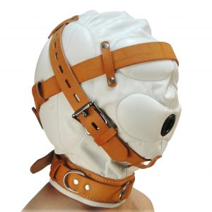 The Strict Leather Sensory Deprivation Hood is now available in a striking white and tan design that adds a unique institutional flavor to your bondage scene. This exquisite leather hood features internal pads over the ears