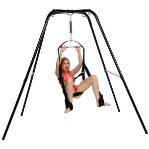 The Trinity Ultimate Sex Swing Stand offers complete freedom of movement with heavy steel construction and a free-standing design. Avoid damage to your walls