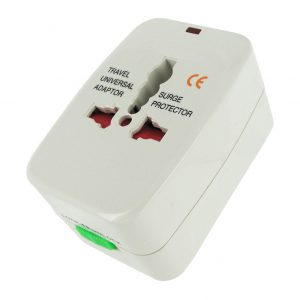 This Universal Voltage Adapter and Surge Protector allows you to use your favorite plug-in toys wherever you may travel. It provides 4 different plug configurations that fit receptacles in a variety of locations around the world. Flip up the central set of prongs for European 220V outlets. Unlock the top pair of prongs for 100V - 120V outlets like those in the United States or Japan. Twist these prongs toward the center to fit Australian 240V and similar receptacles. Unlock the bottom set of prongs to accommodate 240V outlets like those used in the United Kingdom. Measurements: 3 inches long