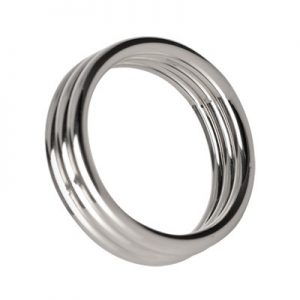 Take erections up a notch with The Echo stainless steel three tier cock ring. Each ring is fused to the next