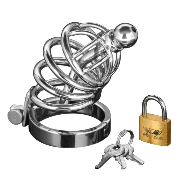 They will be compliant and under your control while wearing this devious chastity cage. Stainless steel and featuring a curved spine with enclosure rings and a removable cum-thru plug. Simply place him in the cage and fasten the base ring behind the testicles