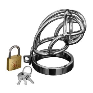 This erection inhibiting device is made of durable stainless steel and features a shortened cage with a locking base piece. Simply place him in the cage and fasten the base ring using the simple pin mechanism. The hinged base ring has a rubber sleeve at the joint to prevent pinching. Then just place the pin through the top of the cage and secure him with the included lock and keys. You decide when he is free...Measurements: Cage: 4 inches in length