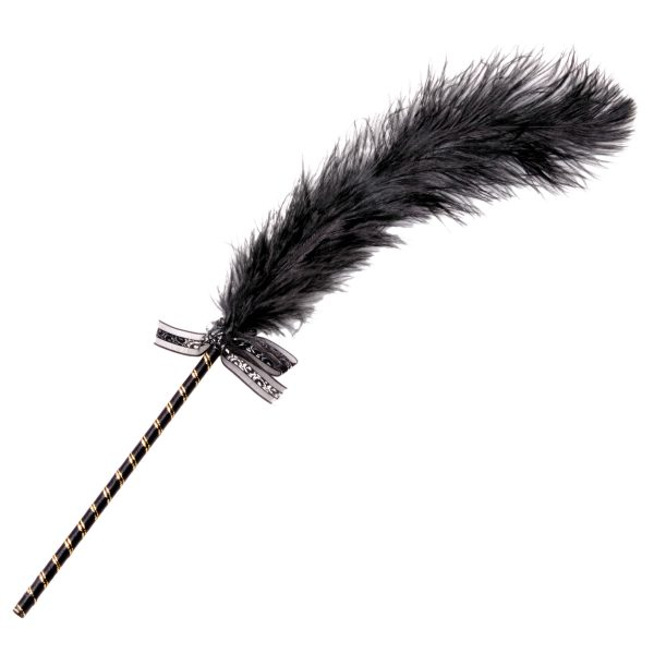 Allow your inner tease to come out with this elegant little ostrich feather tickler. The fabric wrapped handle is topped with a sweet bow with a crystal set into the center. The delicate whisper soft sensations are sure to stir up some sensual cravings in your partner as you run it over their lips