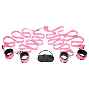 The Frisky Bedroom Restraint Kit is portable and easily restrains with H-shaped straps that fit underneath any size bed and reach around to securely cuff ankles and wrists and restrict movement. The sturdy Neoprene cuffs are soft and comfortable