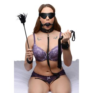 Everything you need for a night of steamy bondage is right here. This sexy collection includes a tassel flogger than can tickle or sting. A feather crop to tease a please. A lights out blindfold to keep you in suspense. A breathable ball gag to keep you silent. Of course a bondage set would not be complete without some sexy cuffs and a leash and collar