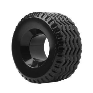 Get your motor running with this beguiling cock and ball tire. This thick and durable cock ring has the extra support and strength you need for extended sessions. The snug fit will help keep you rock hard for an extra long ride. Tread can also be used as a ball stretcher. Use your imagination Measurements: 2.3 inches outer diameter