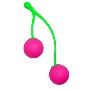 Tone up your Kegel muscles with these brilliant cherry Kegel balls. Connected by an adorable green stem are two neon pink cherries that are weighted with an interior metal ball that will roll around during movement for extra stimulation. Made of premium silicone so they are non-porous and body safe