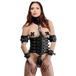 This restrictive restraint piece is an exquisite way to bind your lover in style. The leather bodice is wrapped with adjustable buckles