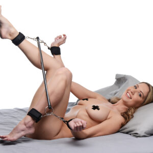 This versatile bondage piece goes beyond the standard spreader bar. The lightweight metal bar is a fixed width