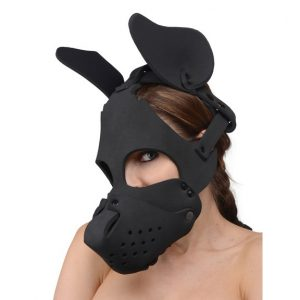 This dog mask is made from neoprene