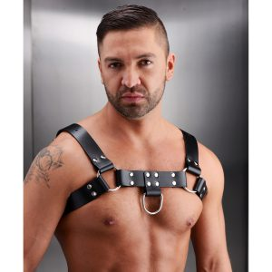 This enticing chest harness will wrap your partner in leather and metal for an exciting look and exotic feel. Featuring multiple points of adjustment