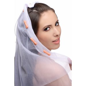This pecker studded party veil is the perfect accessory for a bachelorette party to mark the guest of honor The simple barrette clip snaps into place