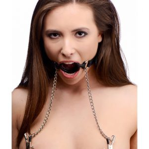 Take them over with this dual feature silicone O-ring gag and nipple clamp set. Affixing the O-ring gag in their open mouth and securing it with the adjustable silicone strap