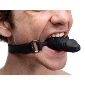 This erotically shaped gag features a penis mouth piece with semi realistic texture detailing. Made of premium silicone