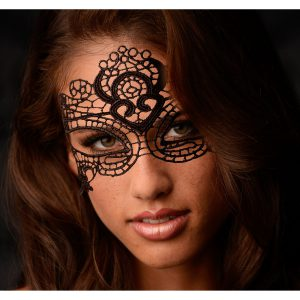 The look of it thrilled me as I took in the intricate lace details and open eye design. I reveled in the lightweight softness of the lace at is was placed over my face. Sir secured the mask with the lace ties