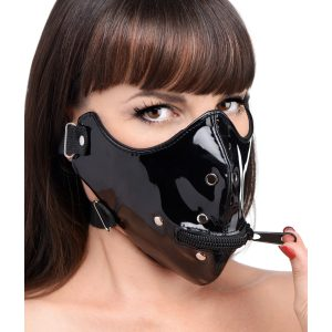 Keep your plaything zipped up and under control with this half face zipper muzzle from the Master Series. With a sexy vinyl exterior and zipper mouth hole