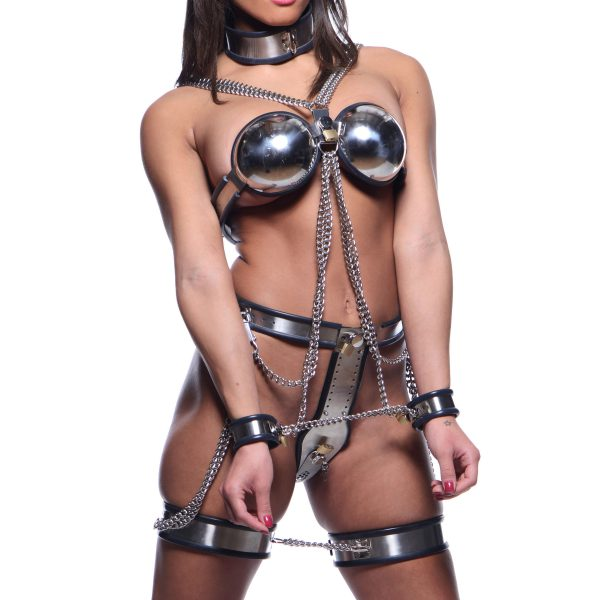 This dazzling full body restraint and chastity system will hold them secure and deny access to their most intimate areas. Highly adjustable