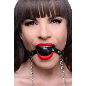 This breathable ball gag allows you to restrict the speech of your plaything
