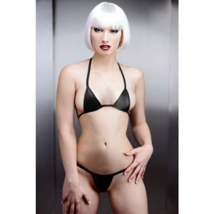 This micro mini bikini will cover just enough to get their attention while showing off your best assets. The thin