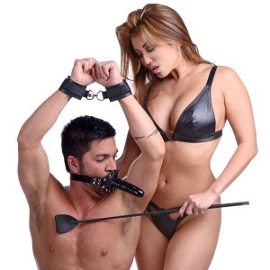 Deny them their pleasure while making sure you get yours Why should he be able to enjoy your body while pleasuring you? This inclusive Fem Dom kit includes a gag with a dildo attached