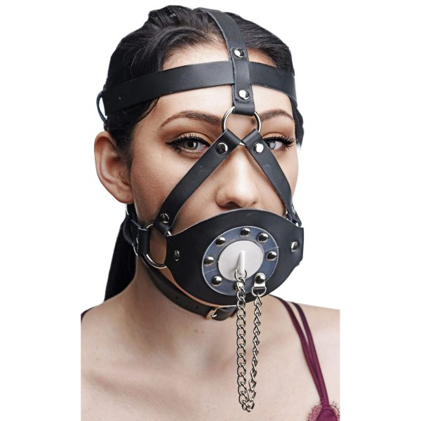 This unique head harness and gag system provides and unforgettable mood for you and your submissive lover