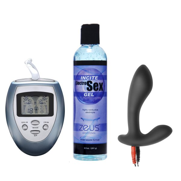 Electrify your Sex Life with this Silicone Estim Prostate Kit Everything you need to stimulate your prostate with electricity is included in this set Featuring the Zeus Palm Powerbox