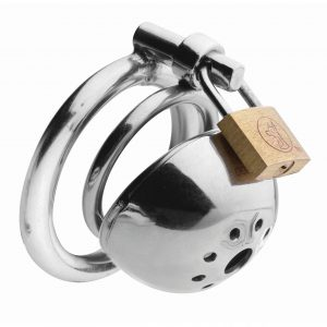 Lock up his dick in solitary confinement His cock will not be getting any attention while it is trapped in this intensely constricting chastity device. Yank his cock and balls through one of the two base rings