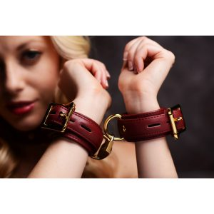 Dress your submissive lover up in an elegant and luxurious set of wrist cuffs from Strict Leather. Durable and secure