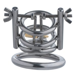 Confine your slaves penis in a CBT device that will ensure he experiences no pleasure This chastity cage does more than just trap his cock and balls in cold