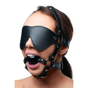 Take away two of your playthings most essential senses when you wrap their head in a devious bondage device This head harness uses a blindfold to effectively blind your lover while you play with them. They will not know whats coming as you tickle