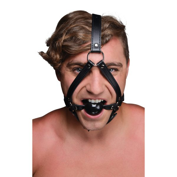 Keep your wild play thing under your control when you strap them into this head harness. The attached ball gag will shut up your pet