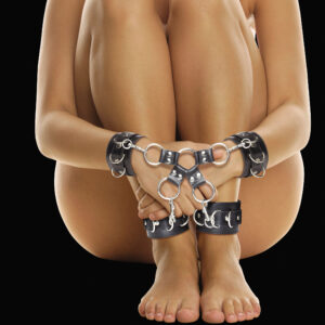 Looking for a hogtie cuff set that can do it all and is made to play hard? Look no further. The cuffs of Ouch have quality leather straps with elegant stitching down the length of the straps. They are comfortable but incredibly secure. Use this hogtie to bind your partner from behind or in front of them to give you easy access The straps have 6 holes to adjust the length