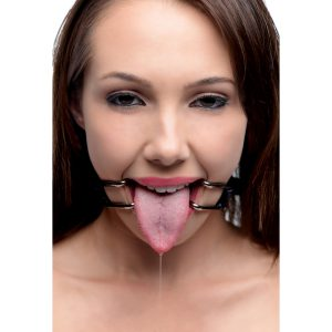 Pry that slutty mouth open with this intimidating spreader Place the rounded tips in either side of their mouth and then adjust the strap until their lips are pulled taut. Their unique vulnerability and humiliation will fuel your arousal. A locking buckle allows you to trap them in the vice