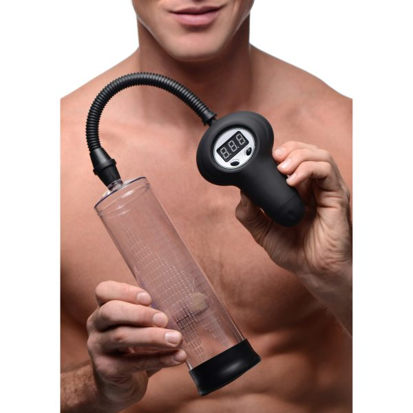 Draw massive amounts of blood into your penis to increase size and sensitivity This powerful male sex toy uses a digital pump and gauge to create and measure pressure within the cylinder. One easy-to-use button turns the suction on or off
