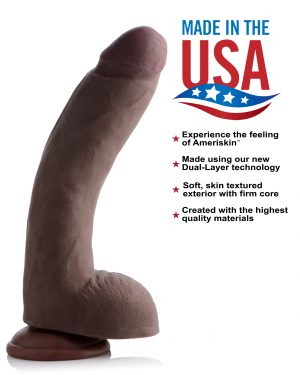 Treat yourself to a phallus that will cram you to max capacity This beautiful dildo will deliver orgasmic ecstasy with its precise representation of an enormous ebony erection. Savor every ridge and ripple in the realistic penis and scrotum