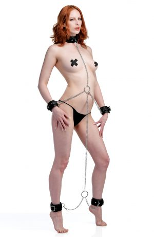 Limit your slaves mobility and remind them of your total control with an attractive and comfortable shackle set. The leather-like collar and 4 cuffs feature internal padding