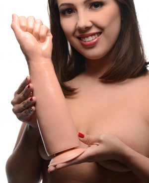 Take your best shot at going elbow deep on this extreme dildo This smooth
