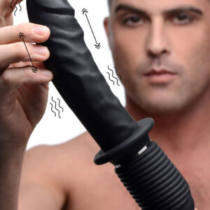 This big black boner is rechargeable for powerful vibration and thrusting action Grab the handle and pound yourself
