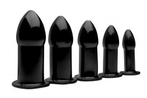 This rubber set of 5 gratifying and graduated sized anal dilators has everything you need for all sorts of anal play