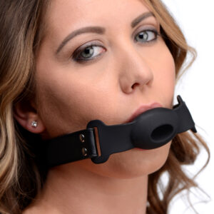 Shut up your submissives bratty back-talk with this unique hollow gag The breathable design and comfortable shape reduces anxiety and prolongs playtime. An adjustable strap buckles to the perfect fit at the nape of the neck. Made of premium silicone
