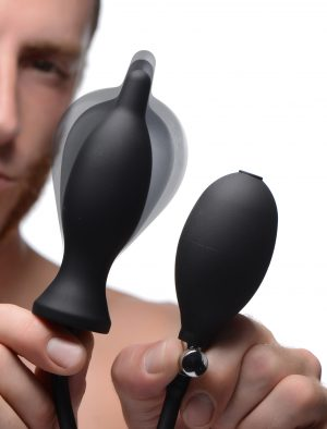 Experience the eroticism of expansion in your ass! This inflatable butt plug starts out small with a tapered tip