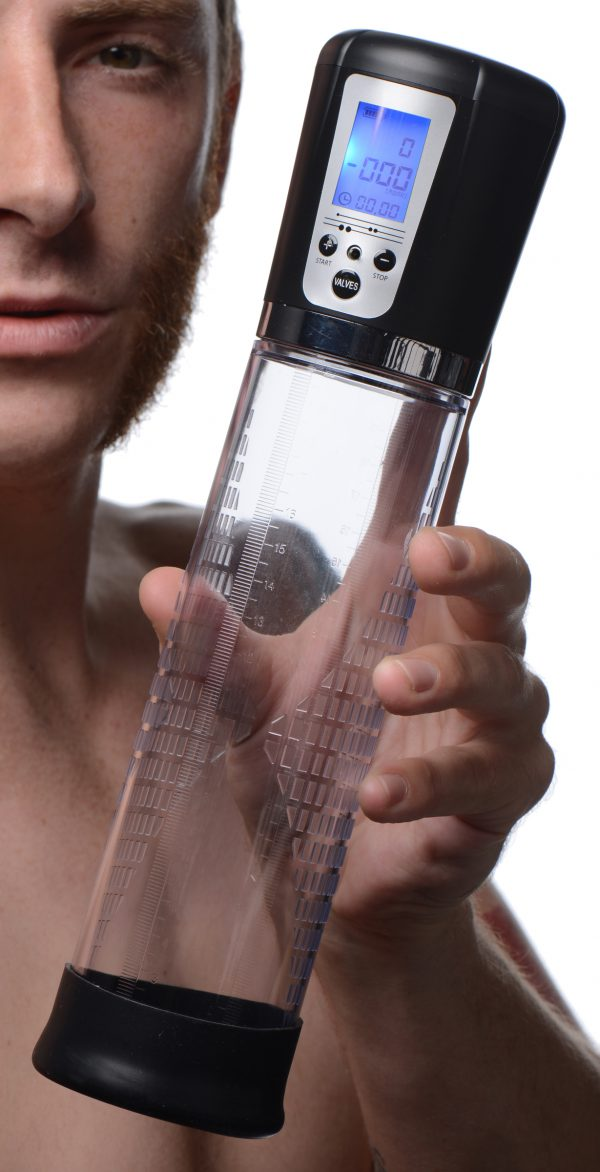 This high-tech penis pump allows you to keep track of the pressure within the cylinder