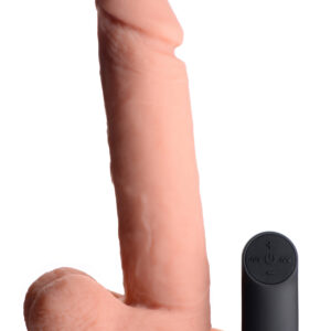 Go balls-deep on a remote-control vibrating dildo that is truly the whole package The phallic head