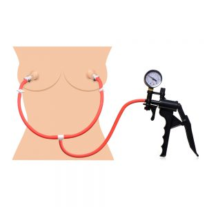 This all-in-one nipple pumping system even has a gauge to watch the pressure build as your nipples are simultaneously sucked! Nipple suction increases sensitivity and temporarily engorges as it draws increased circulation into the area. The sensation heightens sexual experiences both with a partner or solo. Just place the clear cylinders over your sensitive little nubs