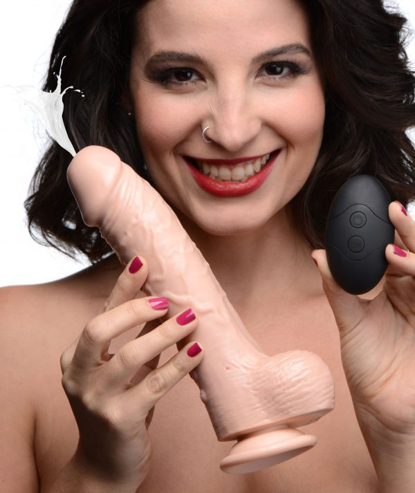 Get ready for Loadz of fun with this vibrating squirting dildo! This 8 inch dildo comes with 10 modes of vibration to suit any mood - buzz yourself to orgasm and entertain yourself