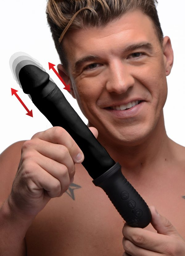 Get a handle on your pleasure with this vibrating and automatic thrusting dildo! The realistic design provides a genuine feel with its defined phallic head and lengthwise veins that snake up and down its black shaft. Enjoy the back and forth thrusting and powerful vibrations with a firm grip - perfect for those who like to play rough and need a more secure grip on their toys!   The easy to reach